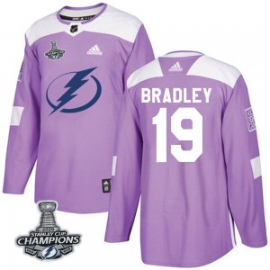Brian Bradley Youth Adidas Tampa Bay Lightning Authentic Purple Fights Cancer Practice 2020 Stanley Cup Champions Jersey