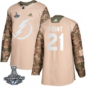 Brayden Point Youth Adidas Tampa Bay Lightning Authentic Camo Veterans Day Practice 2020 Stanley Cup Champions Jersey
