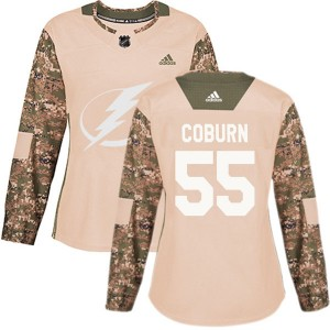 Braydon Coburn Women's Adidas Tampa Bay Lightning Authentic Camo Veterans Day Practice Jersey