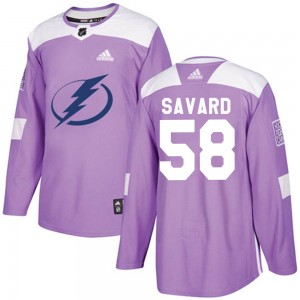 David Savard Youth Adidas Tampa Bay Lightning Authentic Purple Fights Cancer Practice Jersey